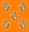 Seamless Pattern With Funny Kittens On The Orange Background For Childish Design