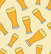 Seamless Pattern With Glass Beer Cups - Vector
