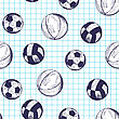 Seamless Pattern With Hand Drawn Different Sport Balls On Checkered Copybook Background
