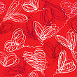 Seamless Pattern With Hand Drawn Scribble Hearts On Red Background. Valentines Day Background Design