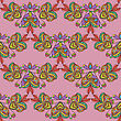 Seamless Pattern. Hand Drawn Seamless Pattern From Ethnic Elements On Pink Background. Mandala Seamless Pattern