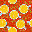 Seamless Pattern For Oktoberfest German Holiday With Beer Mugs And Pretzels.