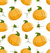 Seamless Pattern With Orange Pumpkins And Green Leaves - Vector