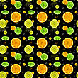 Seamless Pattern With Oranges And Lemons On A Black Background