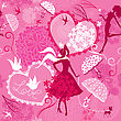 Seamless Pattern In Pink Colors - Silhouettes Of Fashionable Girls, Hearts And Birds