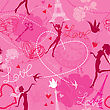 Seamless Pattern In Pink Colors - Silhouettes Of Fashionable Girls, Hearts And Birds. Love Dreams In Paris