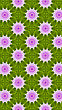 Seamless Pattern, Pink Snowflakes On Green Background