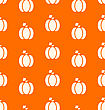 Seamless Pattern Pumpkin White On Orange Background - Vector