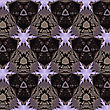 Seamless Pattern, Purple Stars On Dark Background
