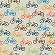 Seamless Pattern With Retro Style Bicycles In Colors. stock illustration