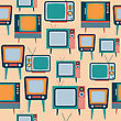 Seamless Pattern With Retro Tv, Vector Format