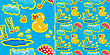 Seamless Pattern With Rubber Duck And Boots, Clouds, Umbrella And Puddle - Autumn Design For Kids stock illustration
