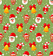 Seamless Pattern With Santa Claus And Christmas Deer, Xmas Background - Vector