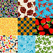 Seamless Pattern Set, Isolated And Grouped Backgrounds.