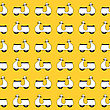 Seamless Pattern With Small Vespa Scooters On Yellow Background
