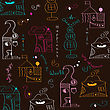 Seamless Pattern With Surreal Houses, Illustration In Vector Format