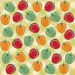 Seamless Pattern Of Sweet Peppers Of Different Colors, Vector Format