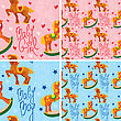 Seamless Pattern With Toys Horses - Design For Kids - Girls And Boys (pink And Light Blue