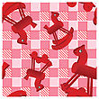 Seamless Pattern With Toys Red Horses On Checked Pink Background - Design For Kids stock illustration