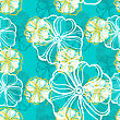 Seamless Pattern With Tropical Hibiscus Flowers. Vector Illustration