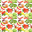 Seamless Pattern With Vegetables, Spices, Leafs And Flowers. Placed On White Background. Close-up. Studio Photography