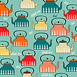 Seamless Pattern With Vintage Kettles, Vector Illustration