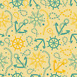 Seamless Pattern With White Anchors On Blue Background