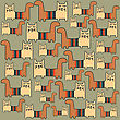 Seamless Pattern With Cats, Vector Format stock illustration