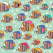 Seamless Pattern With Fish, Vector Format