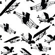Seamless Pattern With Historical Planes stock illustration