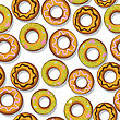 Seamless Pattern With Tasty Donuts.