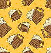 Seamless Pattern With Wooden Foam Beer Mugs - Vector