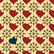 Seamless Red And Black Hearth Pattern stock illustration