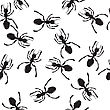 Seamless Repeating Ant Silhouettes Pattern stock illustration