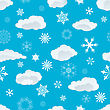 Seamless Snowflakes And Clouds Background For Winter And Christmas Theme stock illustration