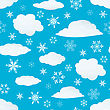 Seamless Snowflakes And Clouds Background For Winter And Christmas Theme