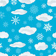 Seamless Snowflakes And Clouds Background For Winter And Christmas Theme stock vector