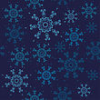 Seamless Snowflakes Pattern. Christmas Design With Blue Snowflakes On Dark Navy Background