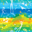 Seamless Summer Beach Pattern With People, Palms, Dolphins And Butterflies On Striped Background stock illustration