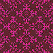 Seamless Texture On Red. Element For Design. Ornamental Backdrop. Pattern Fill. Ornate Floral Decor For Wallpaper. Traditional Decor On Red Background