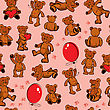 Seamless Texture With Teddy Bears, Hearts And Balloons On Pink Background