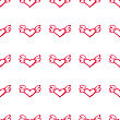 Seamless Valentine Pattern With Flying Hearts With Wings. Love Background