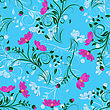 Valley Seamless Vector Floral Pattern. For Easy Making Seamless Pattern Just Drag All Group Into Swatches Bar, And Use It For Filling Any Contours. EPS 10 stock illustration