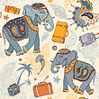 Seamless Vector Pattern. Elephant. Travel Wallpaper Background