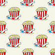 Seamless Vector Pattern With Hand Drawn Pop Corn Baskets And Movie Eyeglasses stock vector