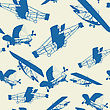 Seamless Vintage Planes Background, Pattern
