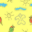 Seamless Wallpaper Children's Drawings Of The Sun And Clouds stock illustration