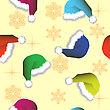 Seamless Wallpaper From Winter Hats And Snowflakes