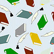Seamless Wallpaper, Hardcover Books For Education Concept.