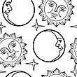 Seamless Wallpaper The Moon And Sun With Faces Vector Background